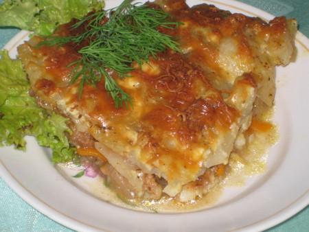 Запеканка из сардин и картофеля