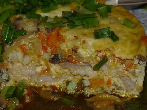 Запеканка рыбная слоеная с зеленью и сладким перцем